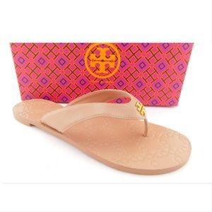 New TORY BURCH Veg Natural Thong Logo Sandals 8.5